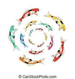 koi, colorido, pez, ilustración, origami, círculo, natación