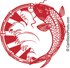 Koi Emblem - Papercut style Japanese koi emblem