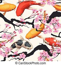 Koi fish and sakura seamless - Koi fish and pink sakura...