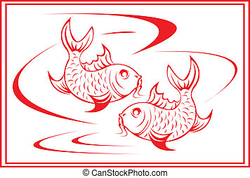 Koi fish. - Chinese koi fish design.