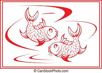 Koi fish. - Chinese koi fish design.
