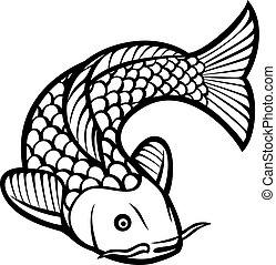 koi fish (illustration of a japanese or chinese inspired koi...