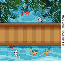 Koi fish in pond with bridge