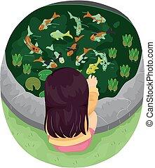 Koi Fish Kid Girl Fish Pond Illustration