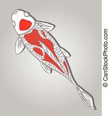 koi, fish., vector, diseño