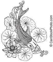 koi, flor, loto, pez, ilustración, mano, vector, dibujado