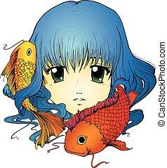 Koi Girl - Anime girl with koi carp in long blue hair