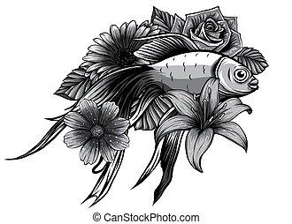 koi, illustration., monochromatique, art, conception, fish, vecteur, tatouage