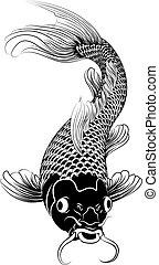 koi, kohaku, carpa, pez, ilustración