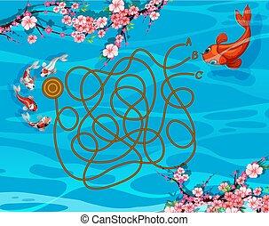koi, labirinto, fish, gioco