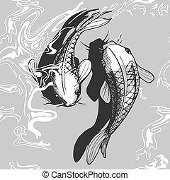 koi, modello, fish, seamless