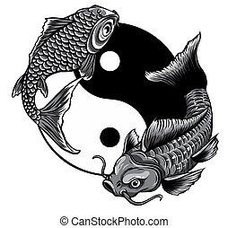 koi, monochromatique, art, yang, fish, yin, vecteur, illustration