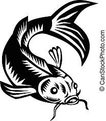 koi, nishikigoi, carpa, fish, woodcut