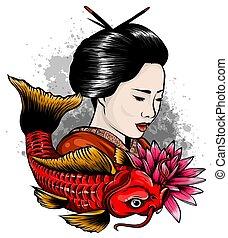 koi, otoño, geisha, carpas, vector, japonés, sagrado,...