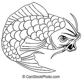 koi pêchent, carpe, sauter, dessin ligne