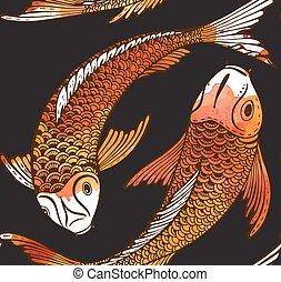 koi, patrón, pez, seamless, mano, vector, dibujado