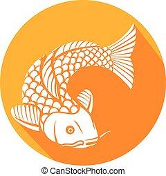 koi, pescado plano, icono