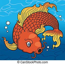 Ilustraci n vectorial de pez koi koi fish chino for Pez koi pequeno