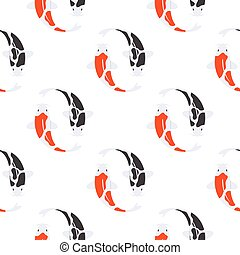 koi, plat, stijl, fish., model, seamless, japanner, vector