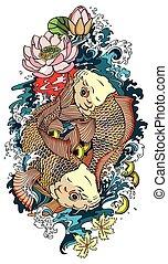 koi, poissons, deux, tatouage