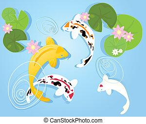 koi pond - an illustration of a group of colorful koi carp...