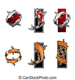 koi, símbolos, pez, conjunto