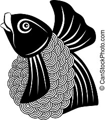 koi vis, zwart wit, illustratie
