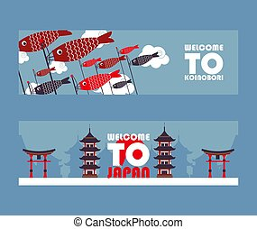 koinobori, vector, popular, viaje, illustration., viaje,...