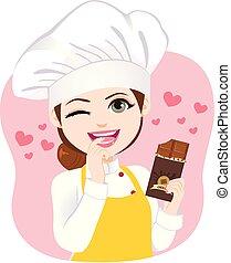 kok, bitten, vasthouden, chocolade
