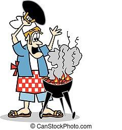 kok, cook, het koken, of, bbq