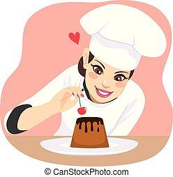 kok, dessert, vrouw