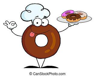 kok, donut, vriendelijk, spotprent