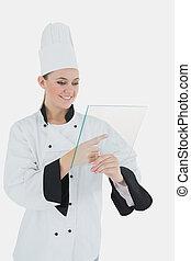 kok, glas, vrouwlijk, tablet