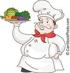 kok, groentes, man, serveren - opdienen, vruchten