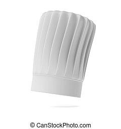 kok, groot, witte hoed
