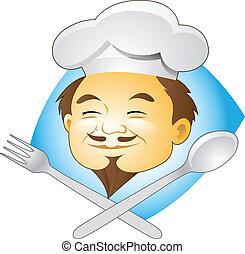 kok, het glimlachen, bestek