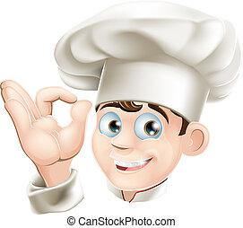 kok, het glimlachen, spotprent
