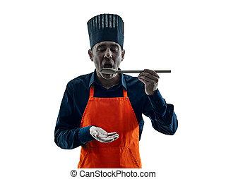 kok, het koken, silhouette, vrijstaand, man