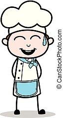 kok, illustratie, vrolijk, vector, glimlachen, spotprent