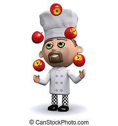 kok, juggles, appeltjes , rood, 3d