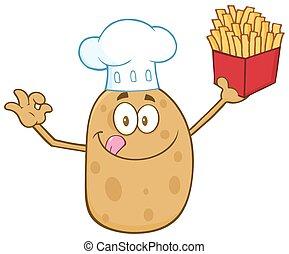 kok, karakter, spotprent, aardappel