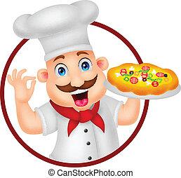 kok, karakter, spotprent, pizza