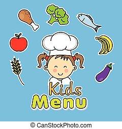 kok, meisje, geitjes, menu.
