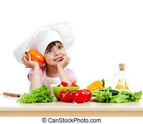 kok, meisje, het bereiden, gezond voedsel, groente, slaatje, op, witte achtergrond