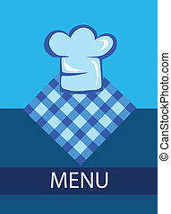 kok, menu, hoedje, mal, restaurant