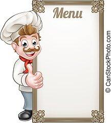 kok, menu, spotprent
