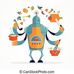 kok, multitasking, het koken, bakken, robot