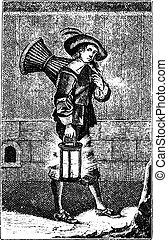 kok, ouderwetse , engraving., 1630, gebakje