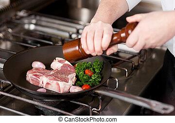 kok, przyprawa, pieprz, mięso