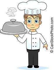 kok, schattig, maaltijd, het voorstellen, jongen